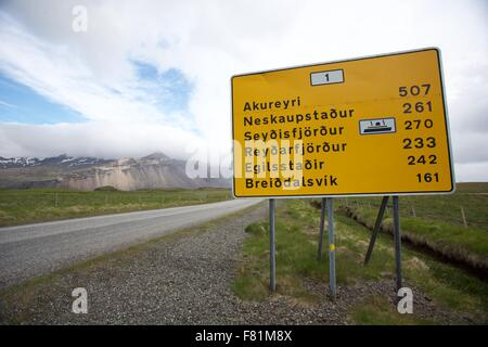 Road sign showing distances in Iceland - Stock Photo