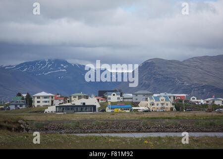 The harbor village of Hofn, location of the annual langoustine festival in Iceland. - Stock Photo