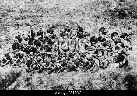 RORKE'S DRIFT  22-23 January 1879. Some of the  soldiers of the 24th Regiment of Foot who manned the garrison during - Stock Photo