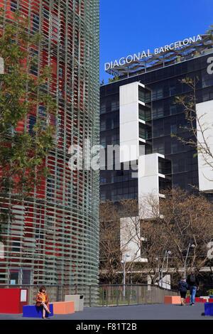 Diagonal Hotel,  Placa de les Glories, Sant Marti District, Barcelona, Catalonia, Spain, Europe - Stock Photo