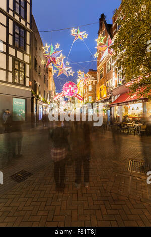 Carnaby Street and its christmas decoration, London, UK - Stock Photo
