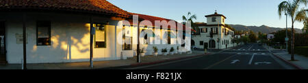panoramic view of historic adobe houses on De La Guerra street in downtown Santa Barbara central Coast of California - Stock Photo