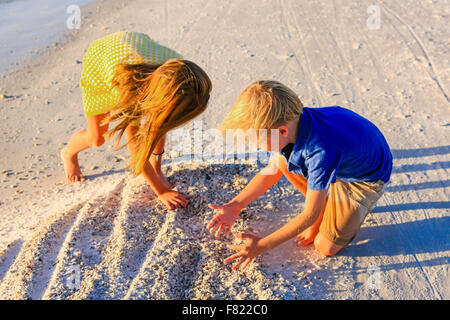 Young pre-teen girl and her younger brother looking for seashells at sunset on Siesta Key beach in Florida - Stock Photo