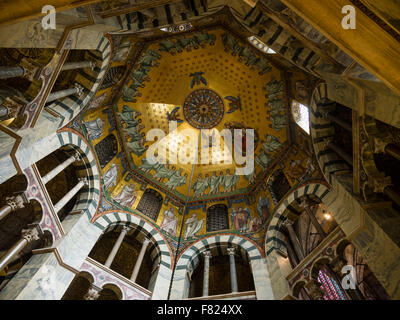 The ceiling vault of the Palatine Chapel in the Aachen (Aix-La-Chapelle) cathedral. - Stock Photo