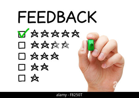 Hand putting check mark with green marker on five stars in feedback form. - Stock Photo