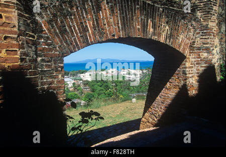 View of the town of Isabel Segunda from Fortin Conde de Mirasol, Vieques Island, Puerto Rico. - Stock Photo