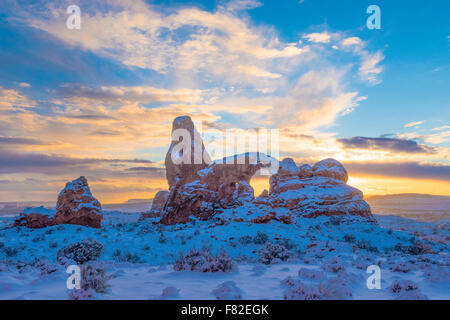 Snowy sunset at Turret Arch, Arches National Park, Utah Windows Section - Stock Photo