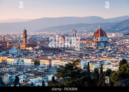 View of Florence at sunset, Tuscany, Italy - Stock Photo