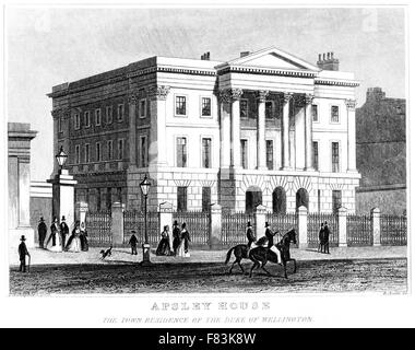 An engraving of Apsley House, The Town Residence of the Duke of Wellington scanned at high res from a book printed - Stock Photo
