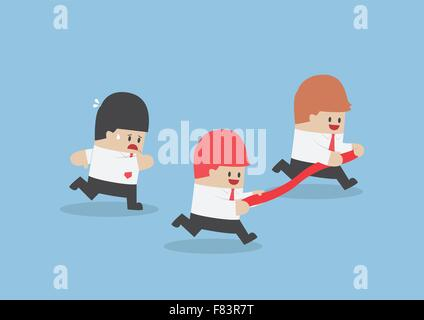 Businessman hold finish line away from his rival, VECTOR, EPS10 - Stock Photo