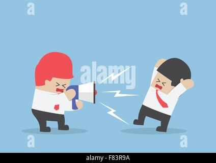 Boss shouting at businessman through megaphone so loudly, VECTOR, EPS10 - Stock Photo