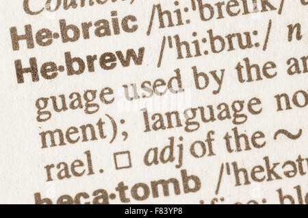 Definition of word Hebrew  in dictionary - Stock Photo