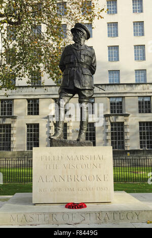 Statue of Field Marshall the Viscount Alanbrooke in Whitehall, London, UK. Alan Brooke lived from 1883 to 1963. - Stock Photo
