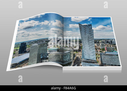 The Zlota 44 building is located on the right side. The architect was Daniel Libeskind, Warsaw, Masovian, Poland, - Stock Photo