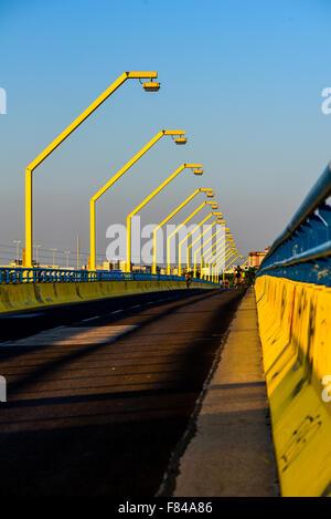bridge Nordsteg, River Danube, Vienna, Austria - Stock Photo