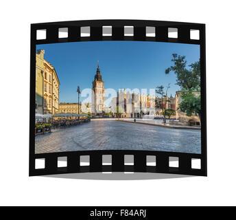 The 70 meter high town hall tower, Krakow, Lesser Poland, Poland, Europe - Stock Photo