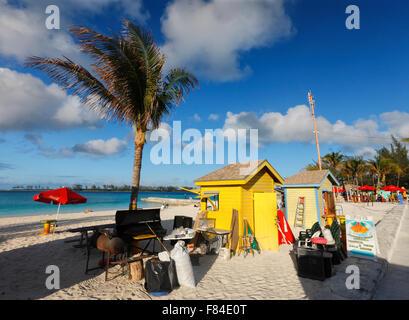 Nassau Junkanoo beach. Yellow grill house on the beach - Stock Photo