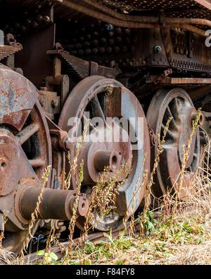 Close up wheels on abandoned steam powered locomotive. Virginia Museum Of Transportation - Stock Photo