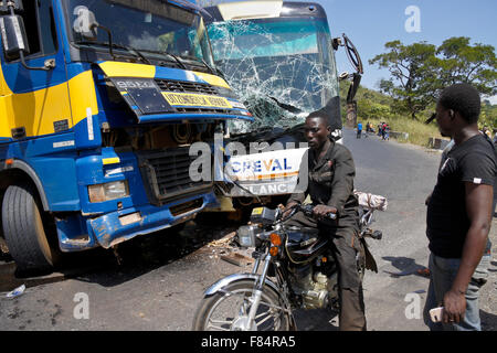 Collision on the mountain road between Djougou (Benin) and Atakpame (Togo), West Africa - Stock Photo