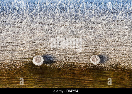Macro image of hoarfrost on a wooden handrail - Stock Photo