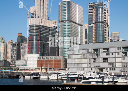 Development and Construction of corporate office towers at Barangaroo in Sydney city centre,Australia - Stock Photo