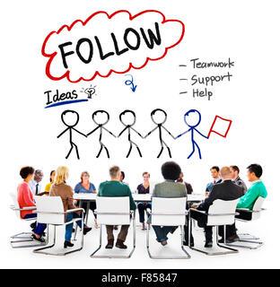 Follow Support Ideas Teamwork Social Media Concept - Stock Photo
