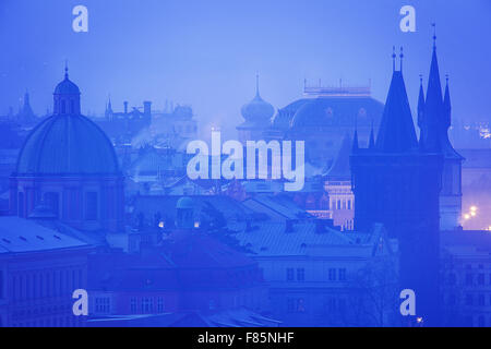 Prague,  oldtown roofs during twilight - Stock Photo