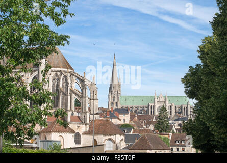 The church of Saint Pierre and Chartres cathedral,  Eure-et-Loir, France, Europe - Stock Photo