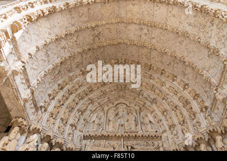 The tympanum of the north porch,Chartres cathedral,  Eure-et-Loir, France, Europe - Stock Photo