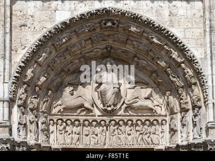 The central tympanum depicting christ and the apocalypse, Chartres cathedral west transept,  Eure-et-Loir, France, - Stock Photo
