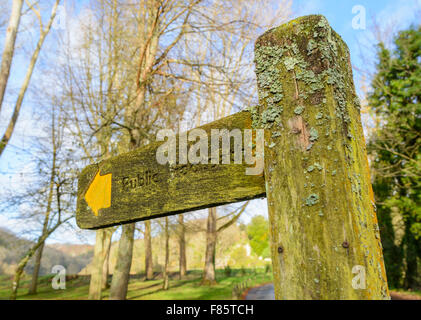 Public footpath finger post in winter in the UK. - Stock Photo