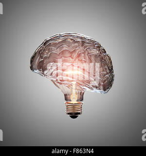 Glowing Light Bulb with the glass shaped as a Brain. This 3D image is conceptual of an active, creative, thinking - Stock Photo