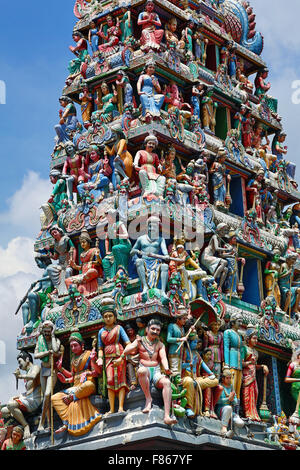Decorations on the doorway of Sri Mariamman Hindu Temple, Singapore, Republic of Singapore - Stock Photo