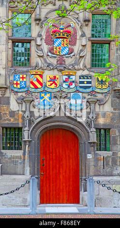 Wooden door of the ancient castle - Stock Photo