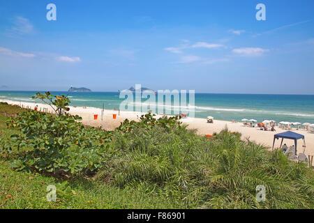 Famous Barra beach in Rio de Janeiro, Brasil - Stock Photo