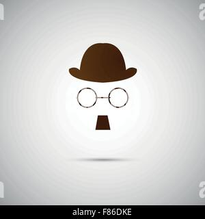 Vector black hat with a old mustache - Stock Photo