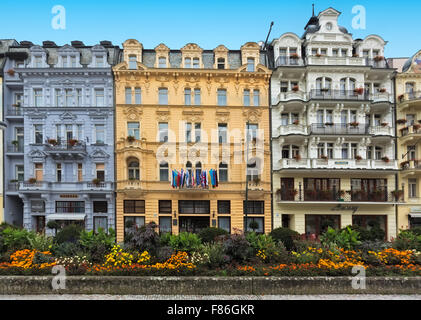 CARLSBAD, CZECH REPUBLIC, OCTOBER 10, 2015  - Historic building and in city center of the  spa town Karlovy Vary - Stock Photo