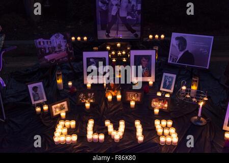 night vigil during Elvis Week, Graceland, Memphis, Tennessee, USA - Stock Photo