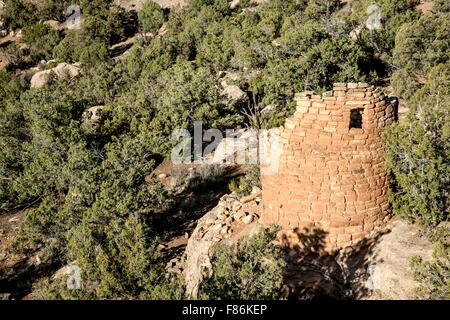 Tower, Painted Hand Pueblo, Canyon of the Ancients National Monument, Colorado USA - Stock Photo