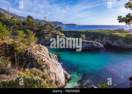 China Cove and rocky coastline. Point Lobos State Reserve, Monterey County, California, United States. - Stock Photo