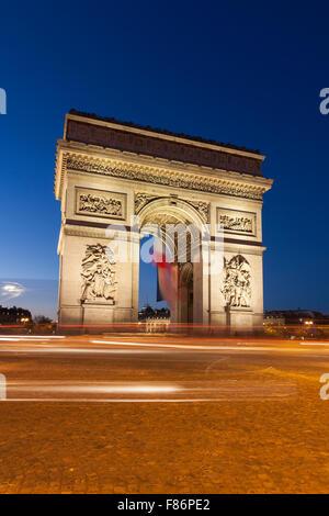 Arc de Triomphe in the Charles de Gaulle square, Paris, Ile-de-France, France - Stock Photo