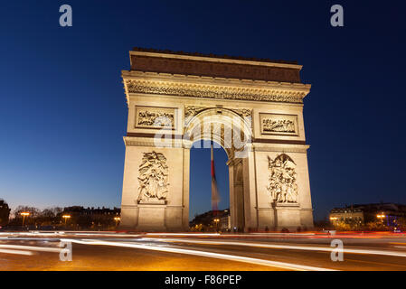 Arc de Triomphe in the Charles de Gaulle square, Paris, Ile-de-France, France - Stock Photo