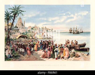 The arrival of Vasco da Gama to Calecut 1498. On 20 May Vasco da Gama first voyage reached Kappadu near Calicut, - Stock Photo