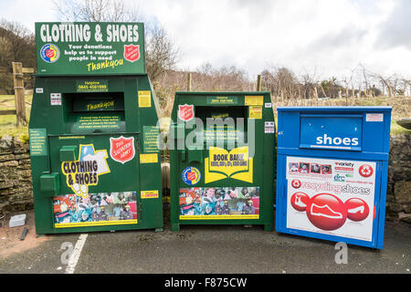 Recycling centre in car park, Eyam, UK - Stock Photo