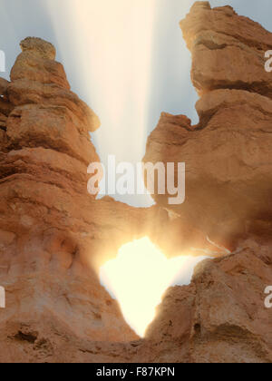 Rock arches and sunset. Bryce National Park, Utah - Stock Photo