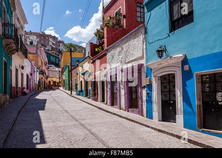 Colorful street in the historic downtown of Guanajuato, Mexico. - Stock Photo
