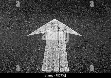 directional arrow, street, road, monochrome. - Stock Photo