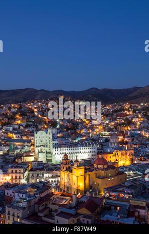 Twilight shot of the Basilica and University in Guanajuato, Mexico. - Stock Photo