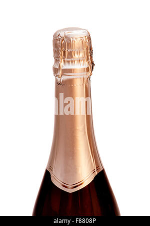 Champagne bottle, isolated on a white background. - Stock Photo