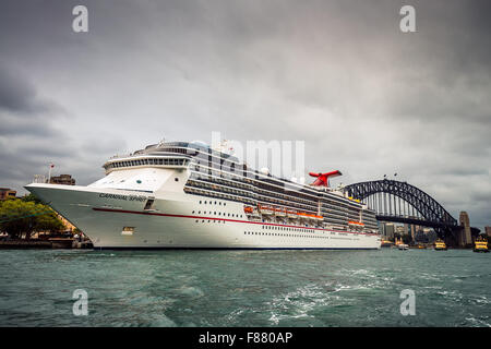 Sydney, Australia - November 7, 2015: Carnival Spirit Cruise ship at Sydney Overseas Passenger Terminal - Stock Photo